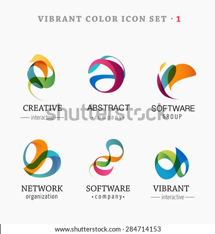 Set of trendy abstract, vibrant and colorful icons - stock vector