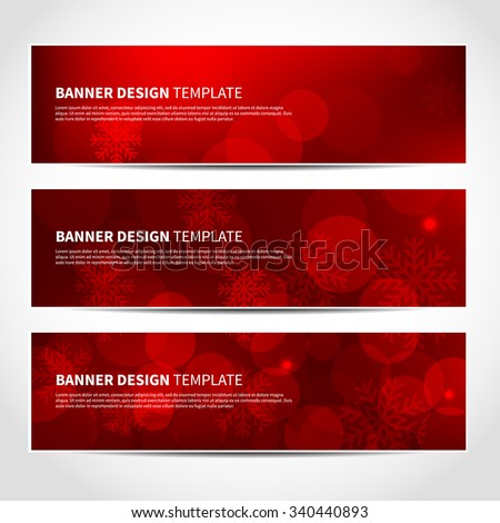 Set of trendy Christmas red vector banners template or website headers with abstract bokeh lights and snowflakes background. Vector design illustration EPS10 - stock vector