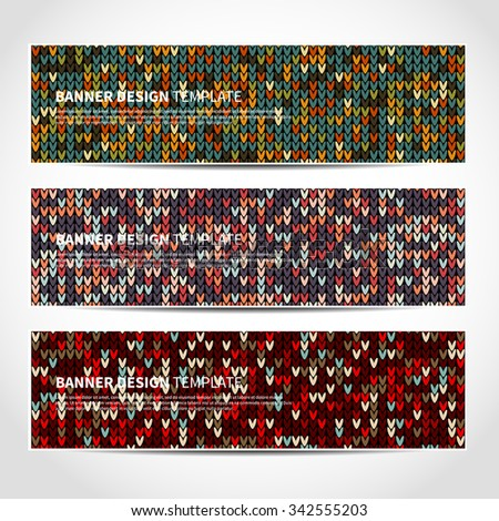 Set of trendy Christmas vector banners template or website headers with abstract knitted background. Vector design illustration EPS10 - stock vector