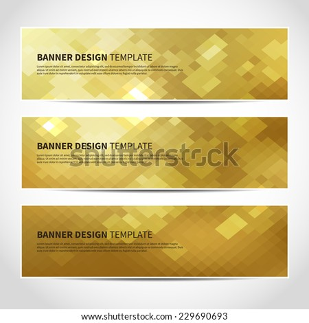 Set of trendy gold vector banners template or website headers with abstract geometric background. Vector design illustration EPS10 - stock vector