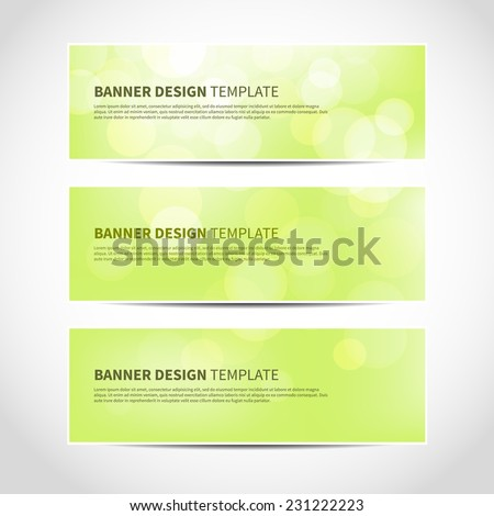 Set of trendy green vector banners template or website headers with abstract geometric bokeh background. Vector design illustration EPS10 - stock vector
