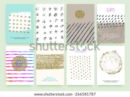 Set of Trendy Posters with Gold Glitter Texture Background. Modern Hipster Style for Invitation, Business Contemporary Design. Geometric Labels for Logo Design. Hand Drawn Elements for Placards, Flyer - stock vector