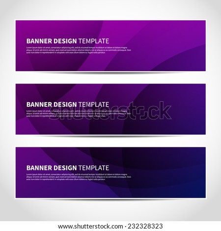Set of trendy purple and blue vector banners template or website headers with abstract geometric background. Vector design illustration EPS10 - stock vector