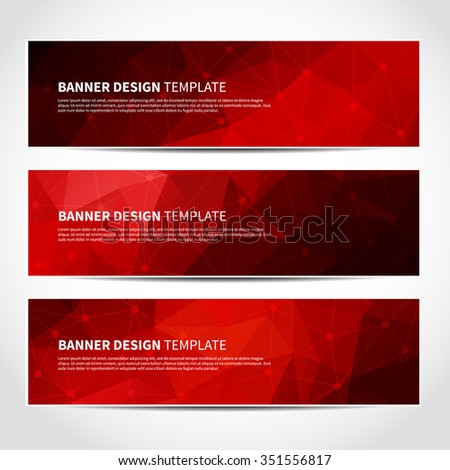 Set of trendy red and black vector banners template or website headers with abstract geometric triangular background. Vector design illustration EPS10 - stock vector