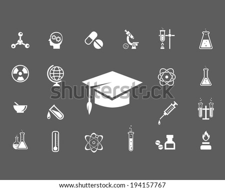 Set of trendy science icons with a central mortarboard hat surrounded by laboratory glassware  microscope  globe  radiation icon  atom  syringe  thermometer and pestle and mortar  vector illustration - stock vector