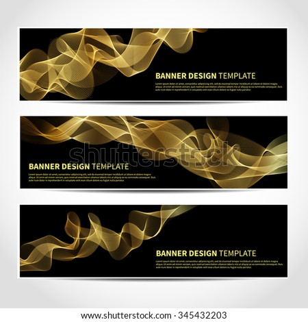 Set of trendy vector banners template or website headers with abstract gold waves background. Vector design illustration EPS10 - stock vector
