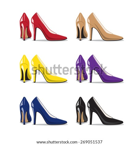 Set of Trendy Woman Shoes - stock vector