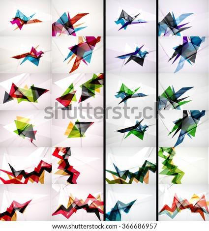 Set of triangle design geometric abstract backgrounds, origami style - stock vector