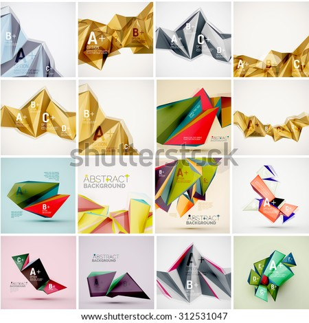 Set of triangle geometric 3d forms. Modern info banner abstract backgrounds, message presentations or identity layouts - stock vector