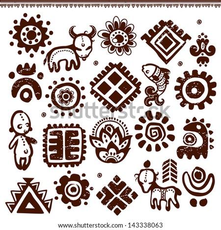 Set of Tribal elements - stock vector
