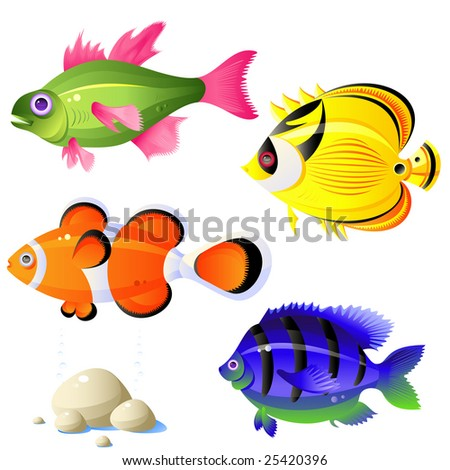 Set of tropical fish, stones, bubbles, vector, isolated on white - stock vector