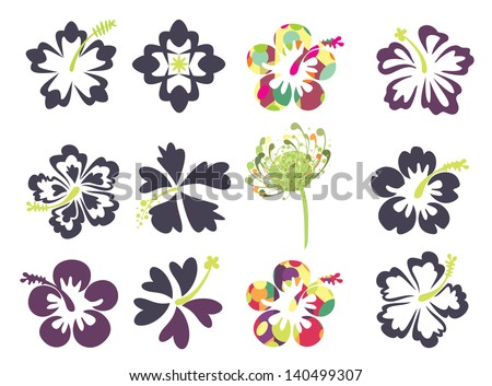 set of tropical flowers, especially hibiscus - stock vector