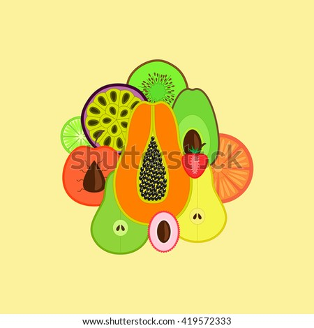 set of tropical fruits, vector illustration - stock vector