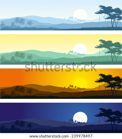 Set of tropical mountain landscape in various times of day.Vector illustration. - stock vector