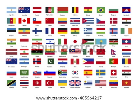 Set of true proportions flags of world sovereign states isolated on white - stock vector