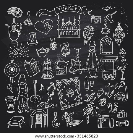 Set of Turkey icons doodle on chalkboard. Hand drawn vector illustration. - stock vector