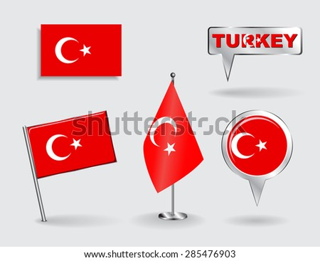 Set of Turkish pin, icon and map pointer flags. Vector illustration. - stock vector