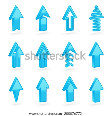 Set of twelve blue dimensional arrows with the glossy shading, eps10 vector clip-art, color and shading layers are separate, easy to edit - stock vector