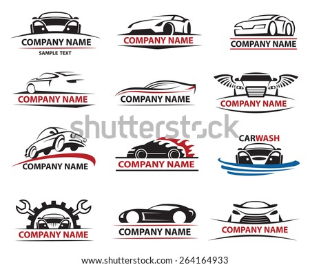 set of twelve car icons - stock vector