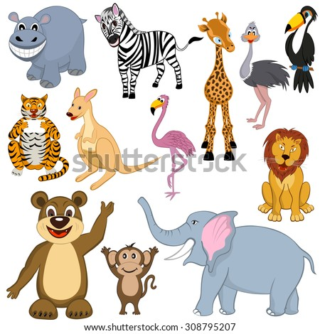 Set of Twelve Cartoon Wild Animals. Ready For Use in Zoo Theme. Very Detail Cute Vector Illustration. Africa, Safari, Desert, Jungle, Funny, Friendly, Kind. - stock vector