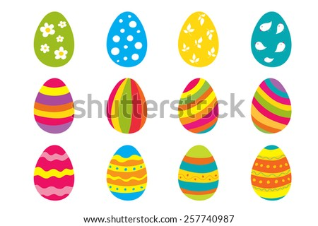 Set of twelve color bright Easter eggs. - stock vector