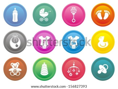 Set of twelve coloured baby boy and girl icons - vector illustration - stock vector