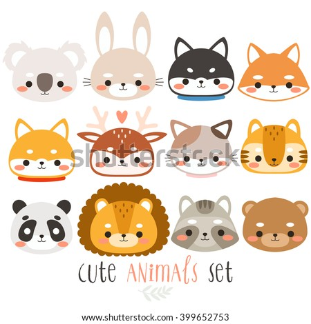 set of twelve cute animals. illustration of fox, rabbit, husky, shiba inu, deer, cat, panda, raccoon, tiger, bear, koala and lion on white background. can be used for cards or birthday invitations - stock vector