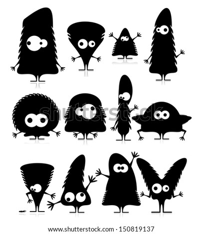 Set of twelve cute black monsters - stock vector