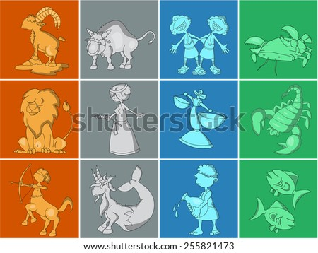 Set of twelve cute cartoon zodiacal signs. Aries, Taurus, Gemini, Cancer, Leo, Virgo, Libra, Scorpio, Sagittarius, Capricorn, Aquarius, Pisces. Horoscope collection. - stock vector