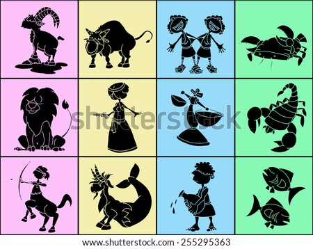 Set of twelve cute cartoon zodiacal signs, black characters on square pastel backgrounds. Aries, Taurus, Gemini, Cancer, Leo, Virgo, Libra, Scorpio, Sagittarius, Capricorn, Aquarius, Pisces. - stock vector