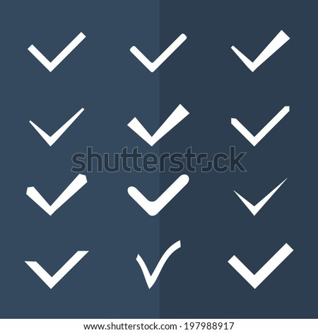 Set of twelve different black and white vector check marks or ticks. Vector illustration. - stock vector