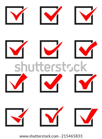 Set of twelve different  vector check marks or ticks in boxes conceptual of confirmation acceptance positive passed voting - stock vector