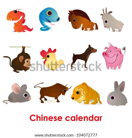 Set of twelve funny animals of the Chinese calendar - stock vector