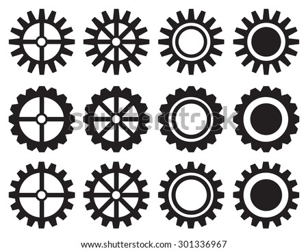 Set of twelve isolated black and white gears and cogwheels vector icon design. - stock vector