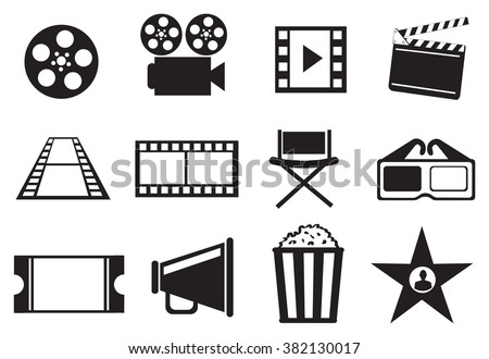 Set of twelve vector icon illustrations on cinema movie entertainment concept in black and white isolated on white background.  - stock vector