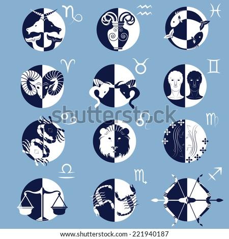 Set of Twelve Zodiac Horoscope Signs and Symbols vectors - stock vector