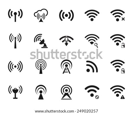 Set of twenty different black vector wi-fi and wireless icons for communicate using radio waves, remote access, wireless - stock vector
