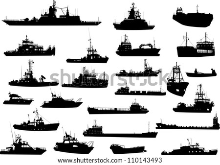 Set of 24 (twenty four) silhouettes of sea yachts, towboat, battleship and ships - stock vector