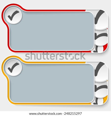 set of two abstract text boxes and check box - stock vector
