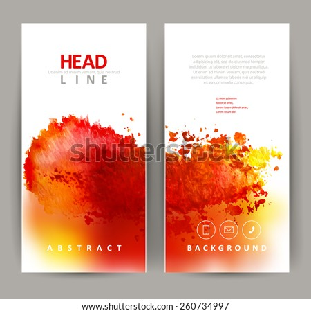 set of two banners, abstract headers with red blot - stock vector