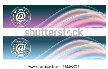 Set of two banners with colored rainbow and email - stock vector