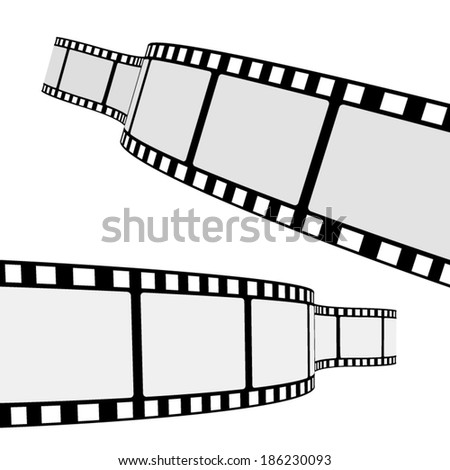 Set of two blank cinema film strip frames with different shape curve and empty space for your movie photograph and picture. EPS 10 vector illustration isolated on white background. - stock vector