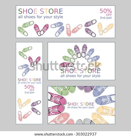 Set of two business card and two banners for shoe store. Vector, EPS 10 - stock vector