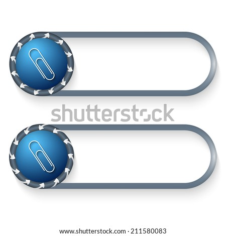 set of two buttons with arrows and paper clip - stock vector