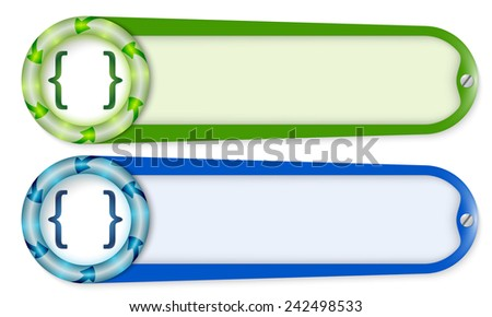 set of two buttons with arrows and square brackets - stock vector
