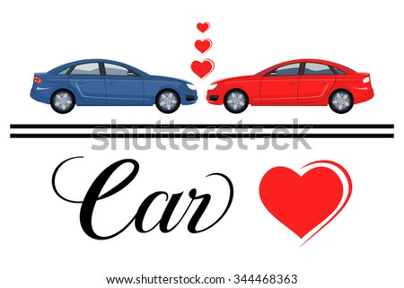 Set of two cars in love vector. Classic cool sticker on a car. Isolated vector over white background. - stock vector
