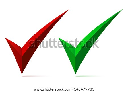 Set of two check  marks, ticks, yes, vote, isolated on white background. Vector illustration - stock vector