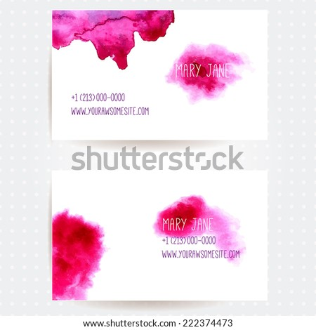 Set of two creative business card templates with artistic vector design. Abstract pink watercolor splashes. - stock vector