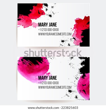 Set of two creative business card templates with artistic vector design. Abstract red watercolor splashes and black grunge texture. - stock vector