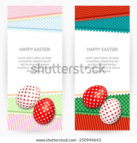 Set of two Easter backgrounds with patterned napkins and painted Easter eggs - stock vector